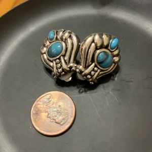 Turquoise and Silver Clip Earrings